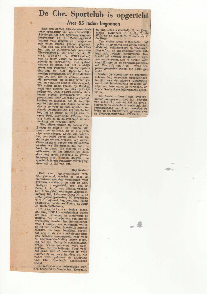 Krantenartikel oprichting CSA