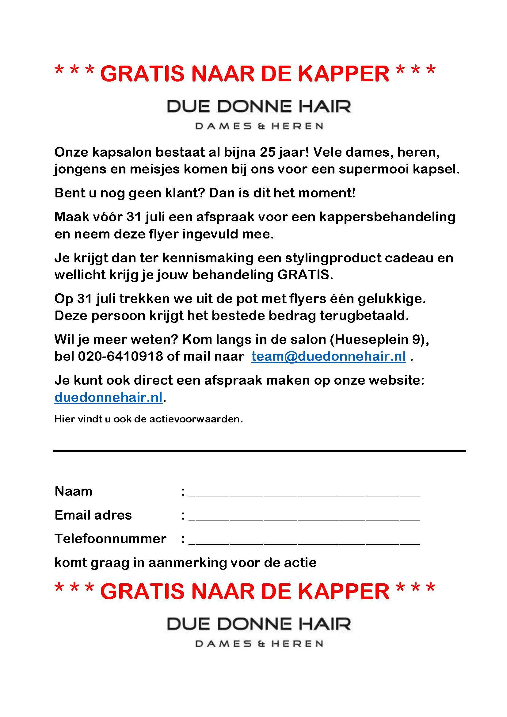 Flyer gratis naar de kapper