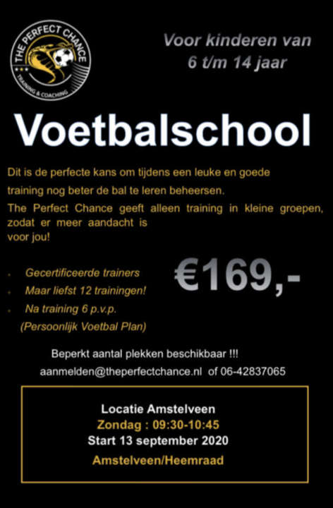 Voetbalschool september 2020